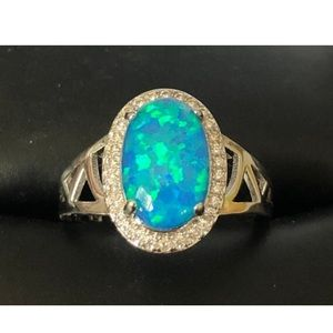 New Oval Blue Opal Sterling Silver Ring size 5
